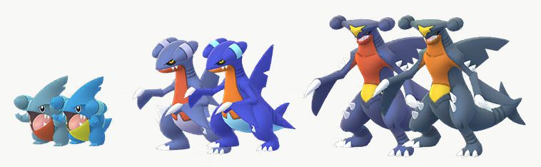 Shiny Gible family tree. Gible and Gabite look more vibrant as a shiny, whilst Garchomp looks washed out.