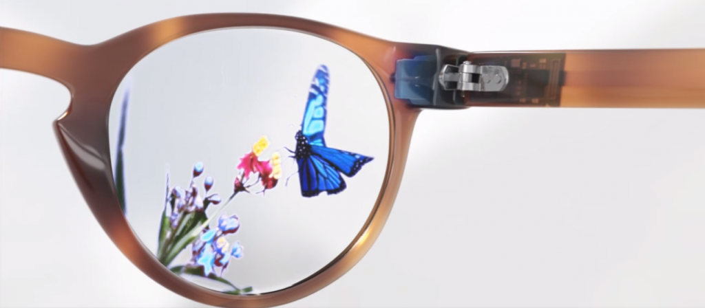 An image of the Trixel 3 attached to a set of glasses.