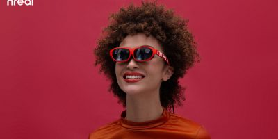 Picture of someone wearing the Nreal Augmented Reality Glasses