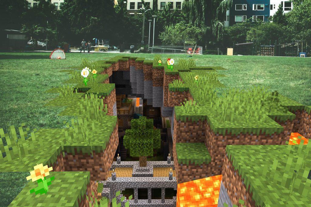 Screenshot of Minecraft Earth gameplay